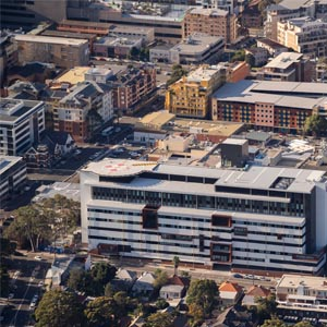 Aerial of Kogarah town centre showing St George Hospital